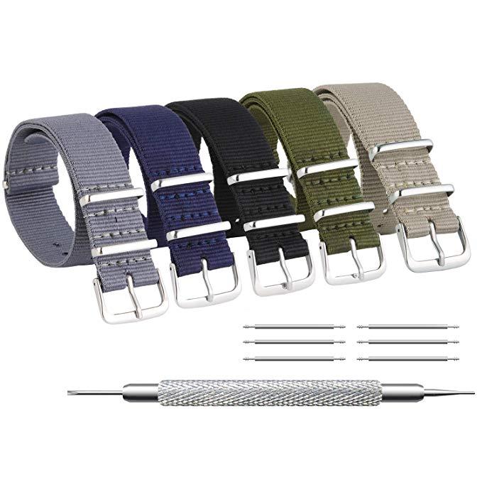 ZHUGE Unisex Nylon Uhrenarmband Ballistic Nylon Uhr Armband Uhrenarmband 5 Stück Mehrfarbig