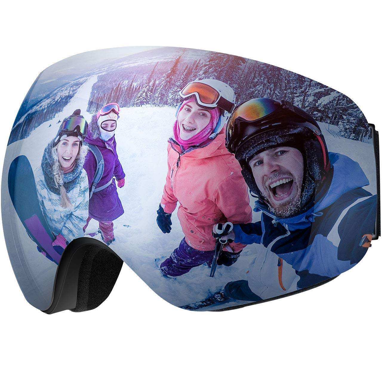 OMORC Skibrille, 100% UV-Schutz Schneebrille Anti-Fog Sportbrill