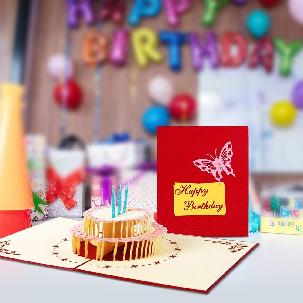 3D Geburtstagskarte, Pop-Up gefaltete Karte mit 3 Schichten Kuchen, Geburtstag Grußkarten mit Umschlag