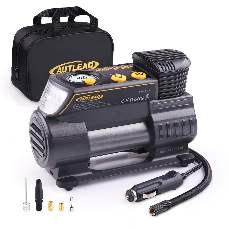 AUTLEAD Luftkompressor, 12V DC Tragbar Digitale Auto-Luftpumpe Reifen Inflator