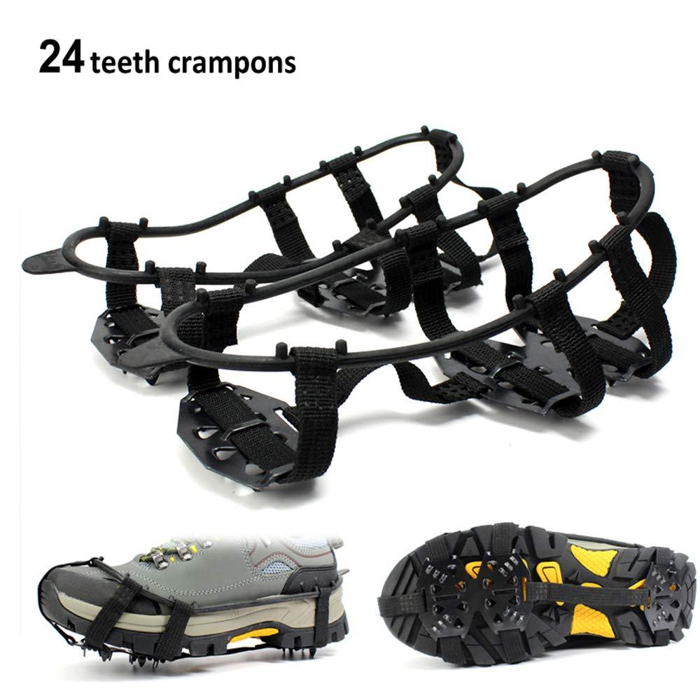 Lixada 24 Zähne Ice Gripper rutschfeste Schuhe für Eisschneeklettern Schuhe