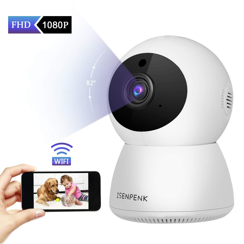 WiFi-Überwachungskamera, ISENPENK WLAN IP Kamera 1080P HD Nachtsicht 360 ° Bewegungserkennung Innenmonitor