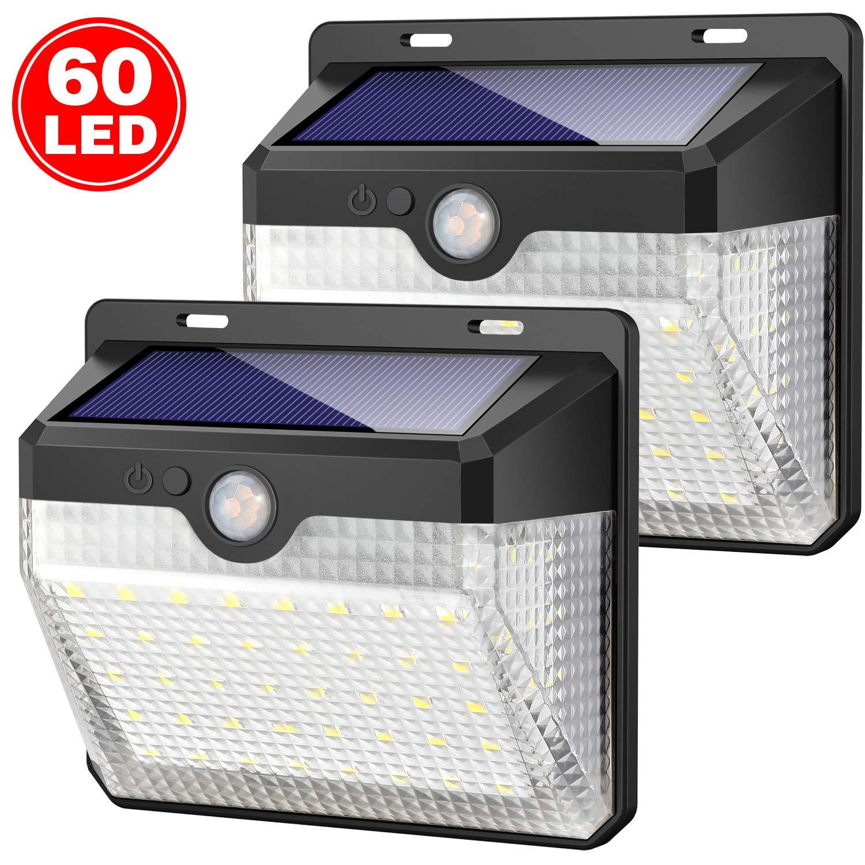 Solarleuchte für Außen,[Einfach zu installieren-2 Stück] Kilponen 60 LED Solarlampen Außen