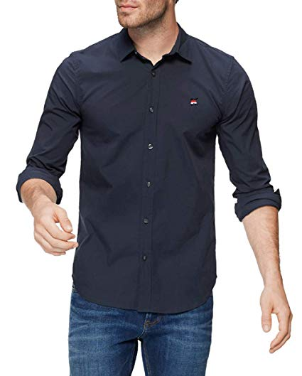 Kuson Herren Hemd Freizeithemd Langarm Hemden Regular Fit Reine Farbe