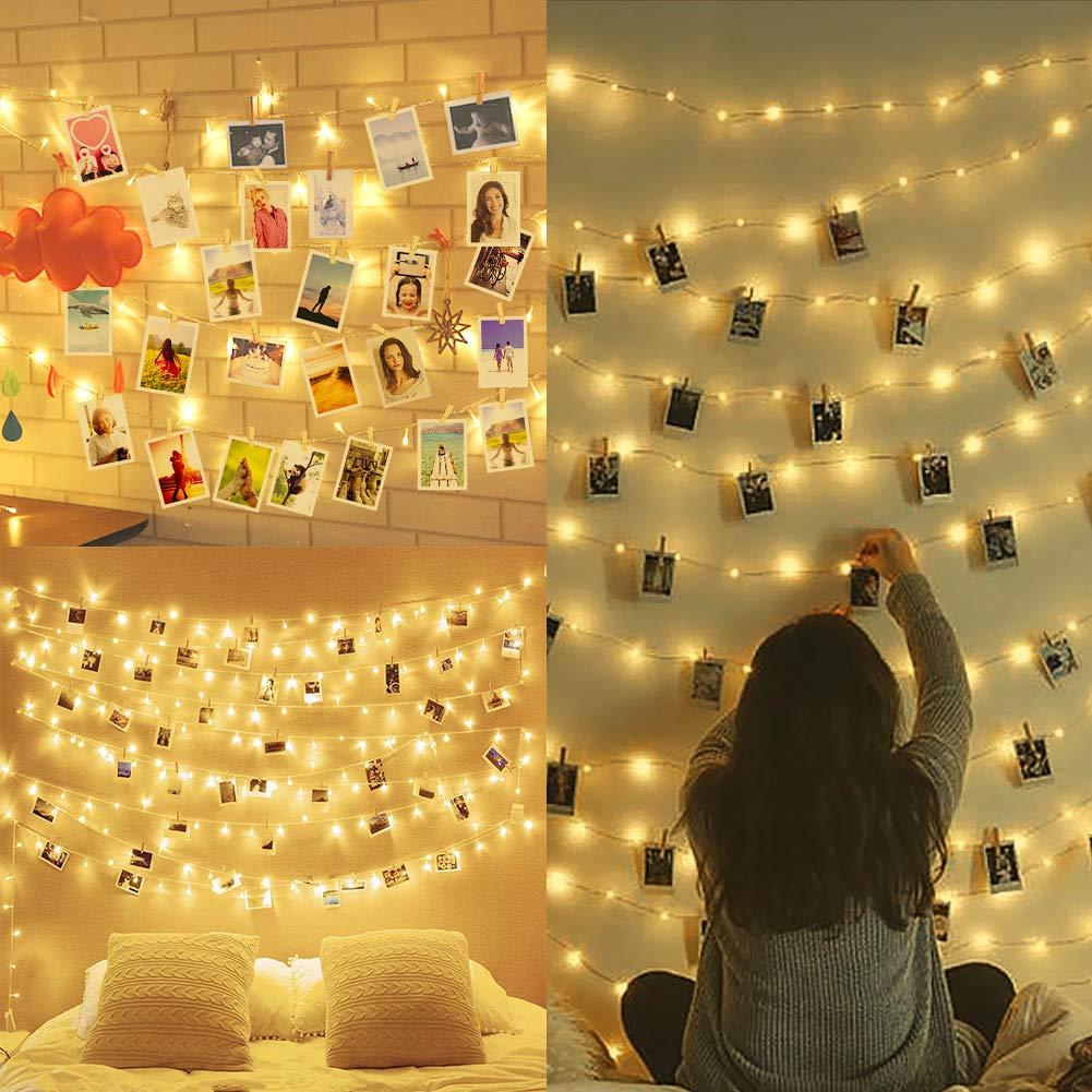 Amteker LED Foto Clip Lichterketten für Zimmer, 100 LED 10M Bilderrahmen dekor