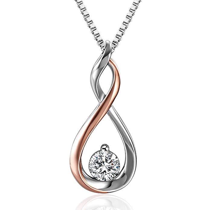 Angelady Halsketten für Frauen mit Infinity Symbol Unendlichkeit in 925 Sterling Silber Anhanger