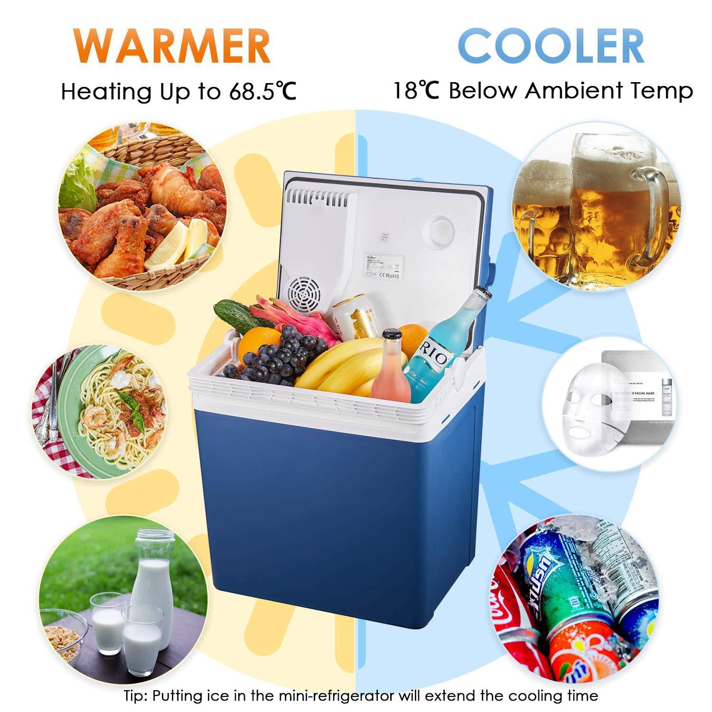 Kealive Elektrische Kühlbox, Thermoelektrische Kühlbox mit Kühl- und Warmhaltefunktion – 25 Liter,12 V