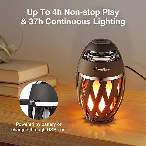 LED Flamme Lampe, Zanflare Nachttischlampe mit Bluetooth Lautsprecher