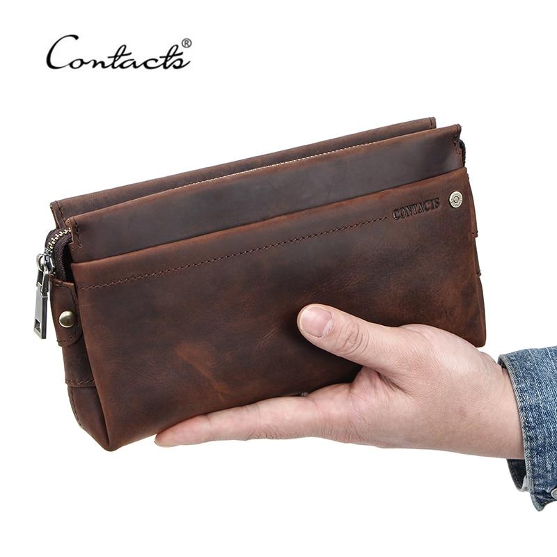 CONTACT'S Männer Reise Brieftaschen Crazy Horse Leder Lange Geldbörsen Business Kupplung Taschen