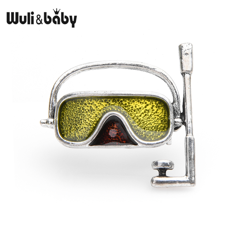 Green Swim Goggles Brooches Women Alloy Personal Style Diving Mask Brooch Pins Gifts