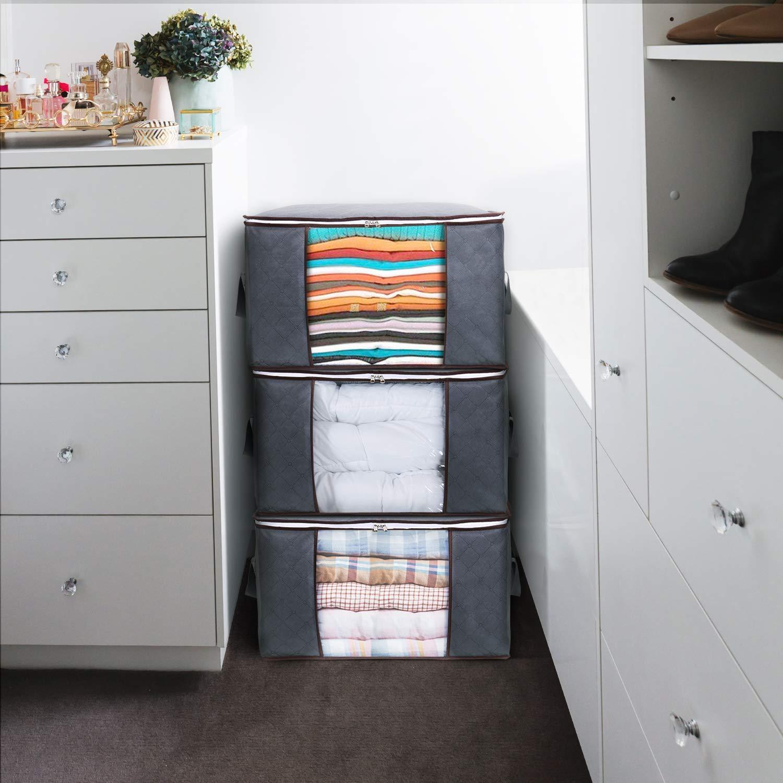 Lifewit Aufbewahrungstasche Kleideraufbewahrung für Bettwäsche Kleidung Kissen Faltbar Groß, 3er-Pack