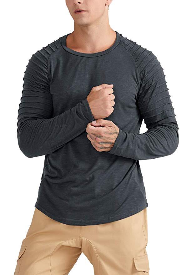JL&LJ Herren T-Shirt Tops Baumwolle Rundhals  Sports Shirts Oversize Sweatshirt