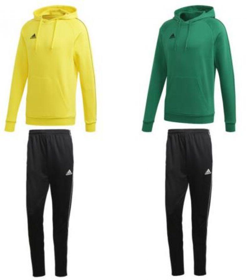 adidas Core 18 Lifestyle Trainingsanzug Hoodie Trainingshose gelb grün schwarz