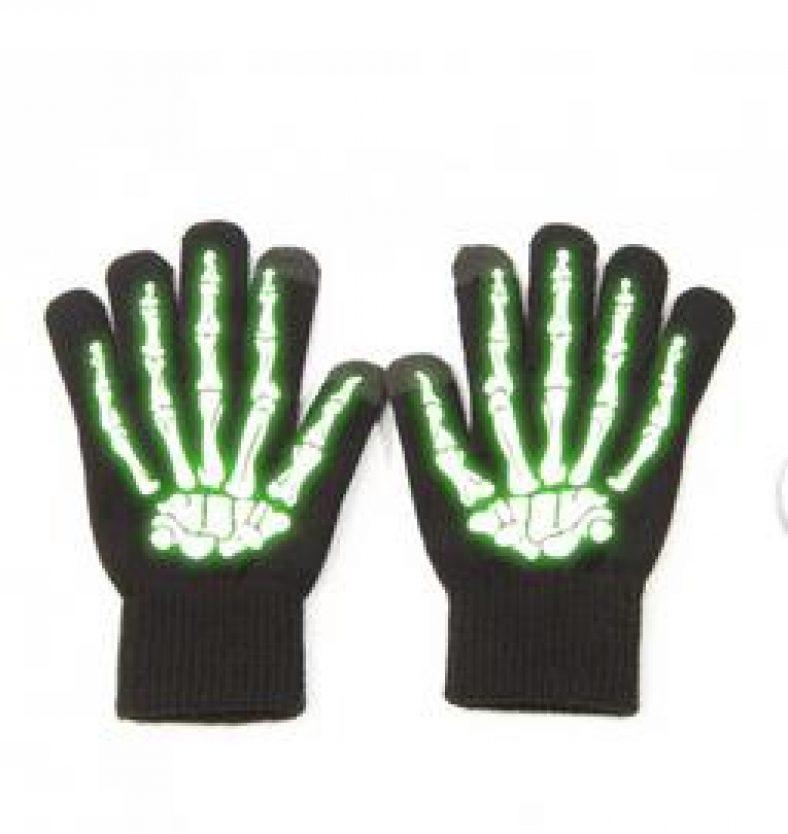 Touchscreen-Handschuhe in schwarz mit grüner Skeletthand Glow in the Dark