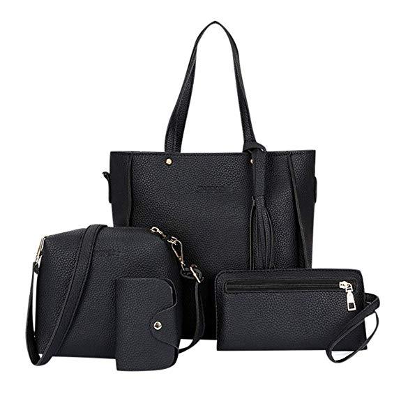 Madmoon Damen Handtaschen Schultertasche Geldbörse Kartenhalter Tasche set 4pc