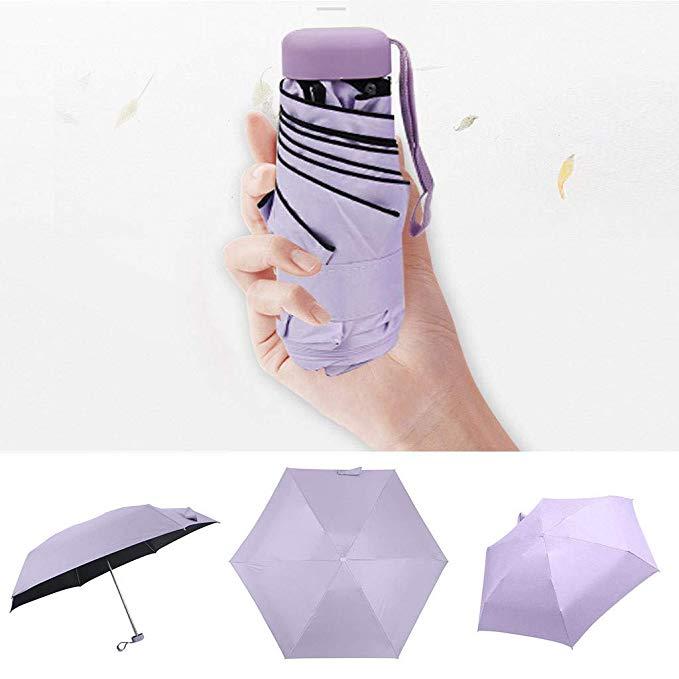 Ultra Leicht und Klein Anti-UV Mini Reise Regenschirm 5 Faltbarer Kompakt Taschengröße Sonnenschirm Regenschirme