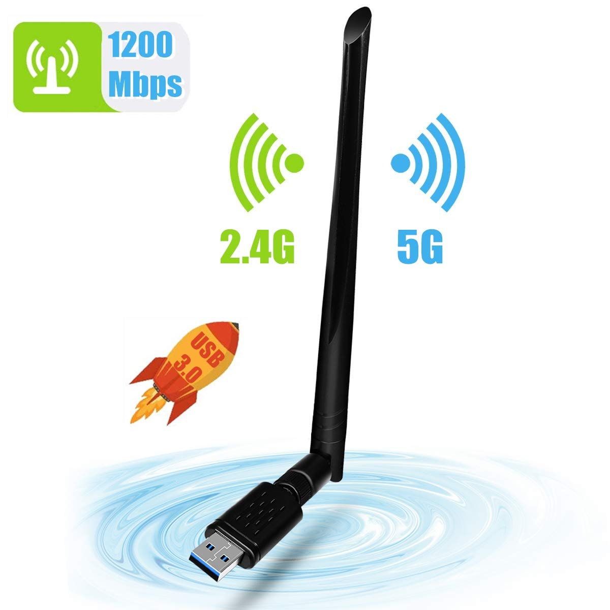 NINECY 1200Mbit/s Dualband (5G/867Mbps+2.4G/300Mbps) WiFi Adapter USB 3.0 WiFi Dongle Wireless WLAN Empfänger mit 5dBi Antenna