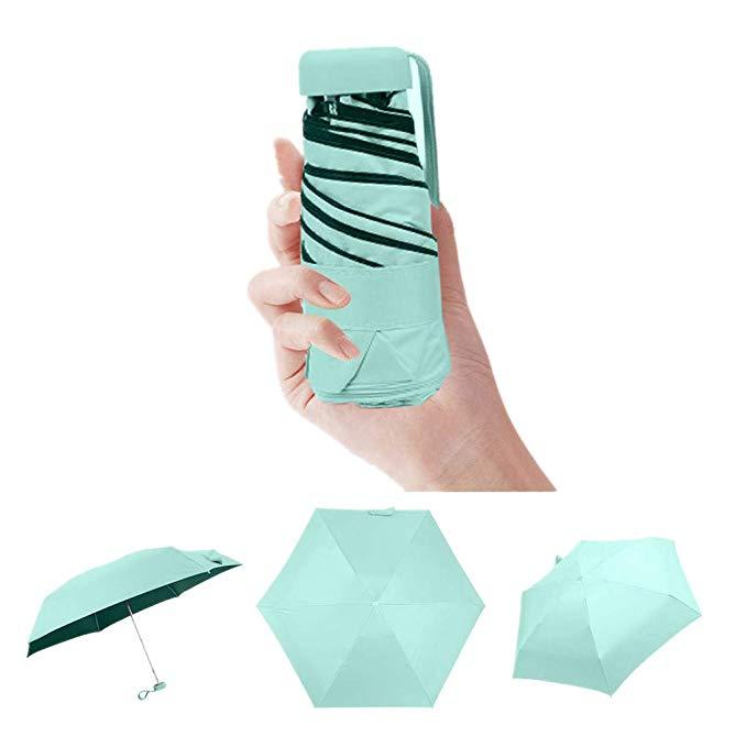 Ultra Leicht und Klein Anti-UV Mini Reise Regenschirm 5 Faltbarer Kompakt