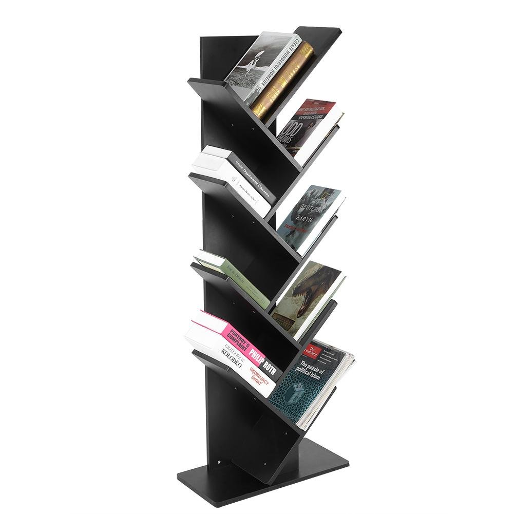 Zerone Baum Bücherregal, Modernes 9-Tier Bücherregal Bücherregal Bücher CDs Display Aufbewahrung Regal Organisation