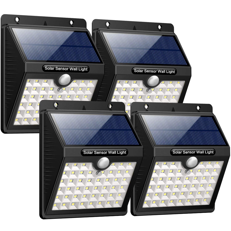 [4 Stück] iPosible 46 LED Solarlampen mit Bewegungsmelder Wasserdichte Solar Beleuchtung LED Solarbetriebene Lichter 1800mAh Solarlicht Draußen