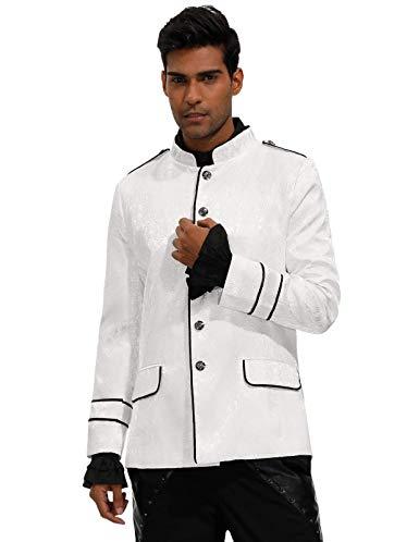 SCARLET DARKNESS Herren Steampunk Military Anzug Blazer Punk Gothic Coat