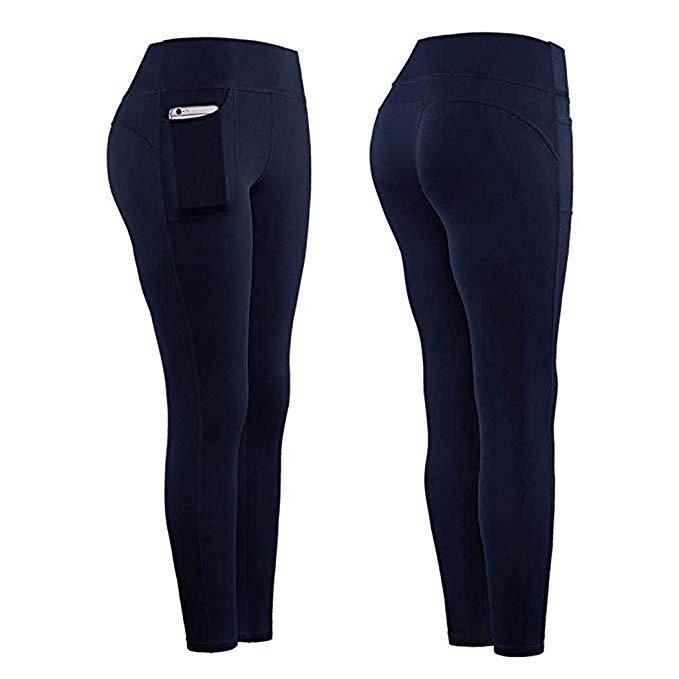 SSUPLYMY Yogahosen Damen Lang Solid Color Eng Schnell Trocknend Sporthose Trainingshose Fitnesshose Mit Handytasche (S-XL)