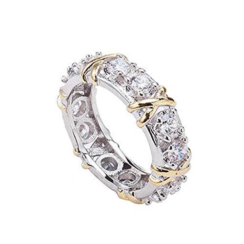yibenwanligod Fashion Full Cubic Zirconia CZ Cross White Gold Plated Ring