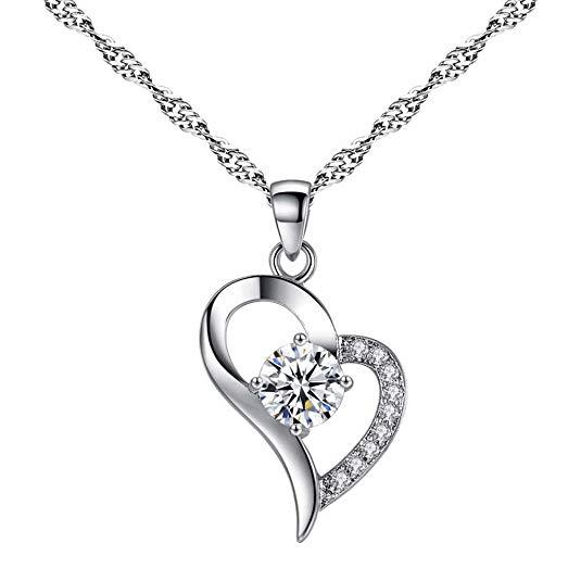 Transwen Halskette für Damen Herz Anhänger Schmuck Simulation Diamant-Halskette Kette