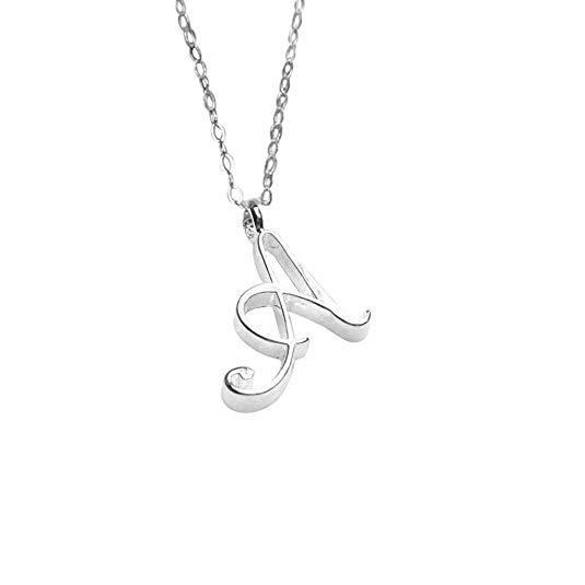 MRENVWS Winzige Silber Initial Herz Halskette