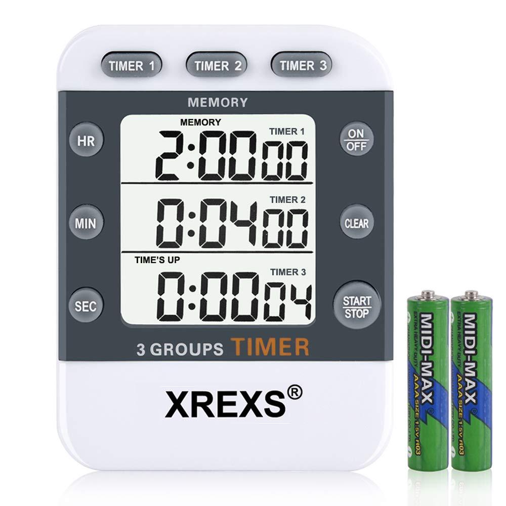 XREXS Digitaler 3 Kanäle Countdown/Stoppuhr Küchentimer, Timer