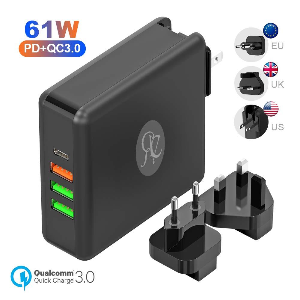 USB C Ladegerät Netzteil 61W Power Delivery für Laptop 24W USB A Quick Charger für Smartphone EU UK US Ersetzbare Stecker