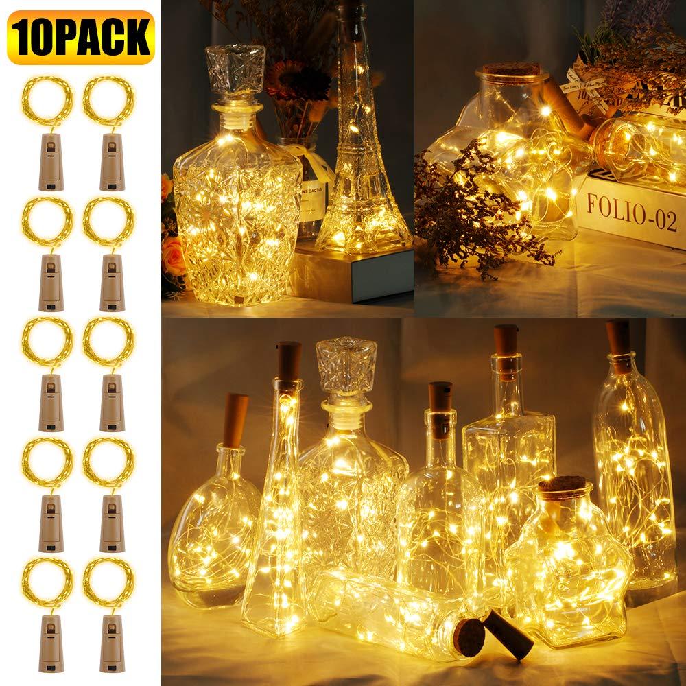 10 Stück LED Flaschenlicht, 20 LEDs 2M Lichterkette Kupferdraht batteriebetriebene Weinflasche Lichter