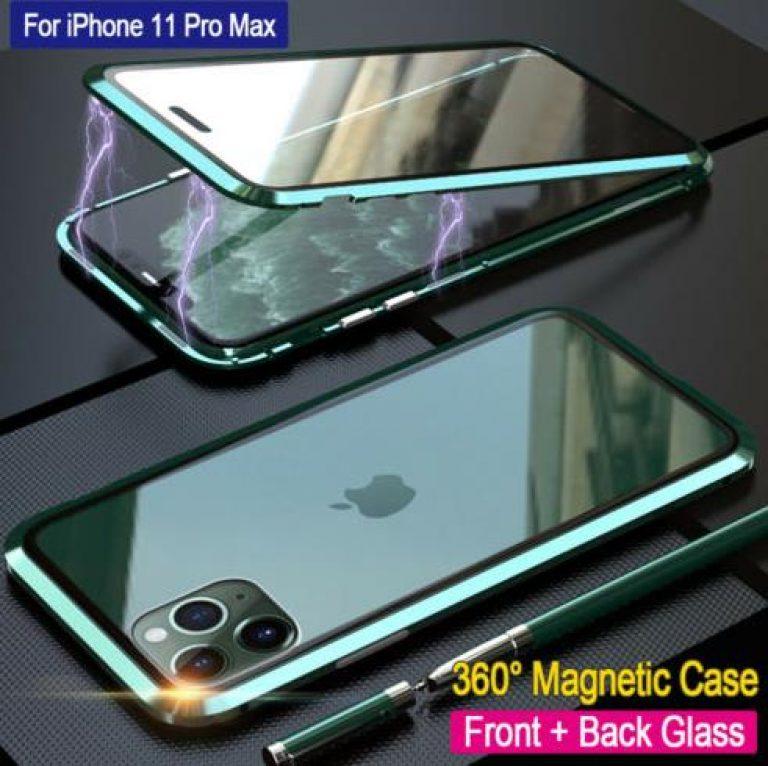 Metall Hülle für iPhone 11/11 Pro Max Schutz Doppelglas Magnet Case Handy Tasche
