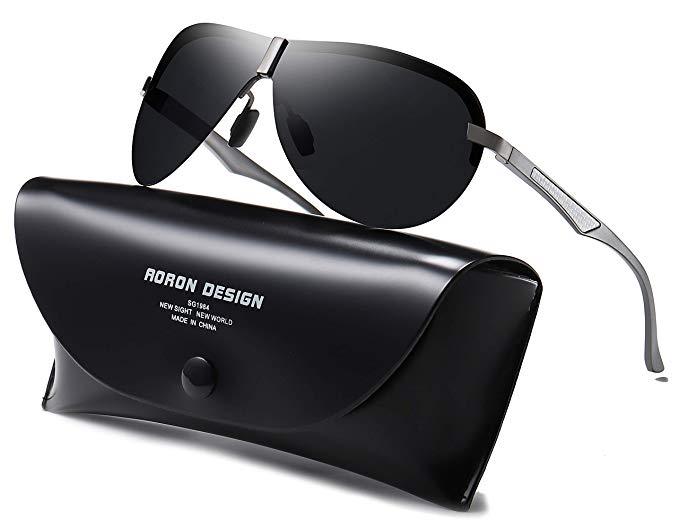 AORON Polarisierte Herren Sonnenbrille Metallrahmen Fahrer Brille Outdoor Sportarten