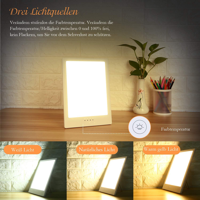 Aikzik Tageslichtlampe, 10000 Lux Tageslichtleuchte UV freie LED Lichttherapielampe