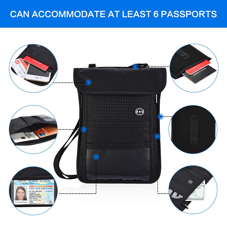 Brusttasche Reisepass Brustbeutel mit RFID-Schutz Wasserfeste Brusttasche