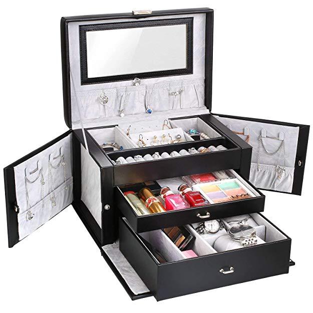 Schmuckkastchen abschließbar Schmuckkoffer mit 3 Schubladen Kosmetikkoffer mit Innenspiegel