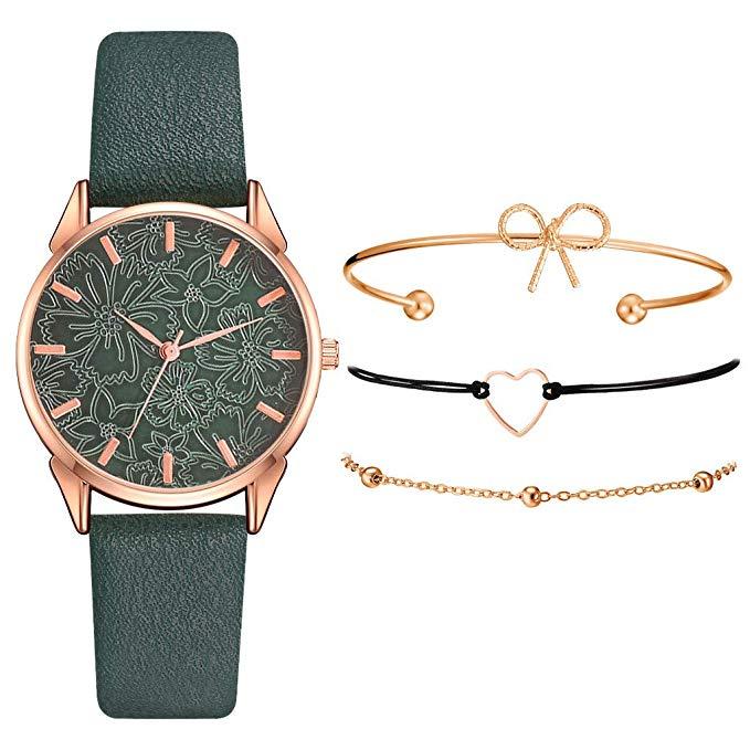 Armband Damen Uhr Set Anhänger versch. Farben