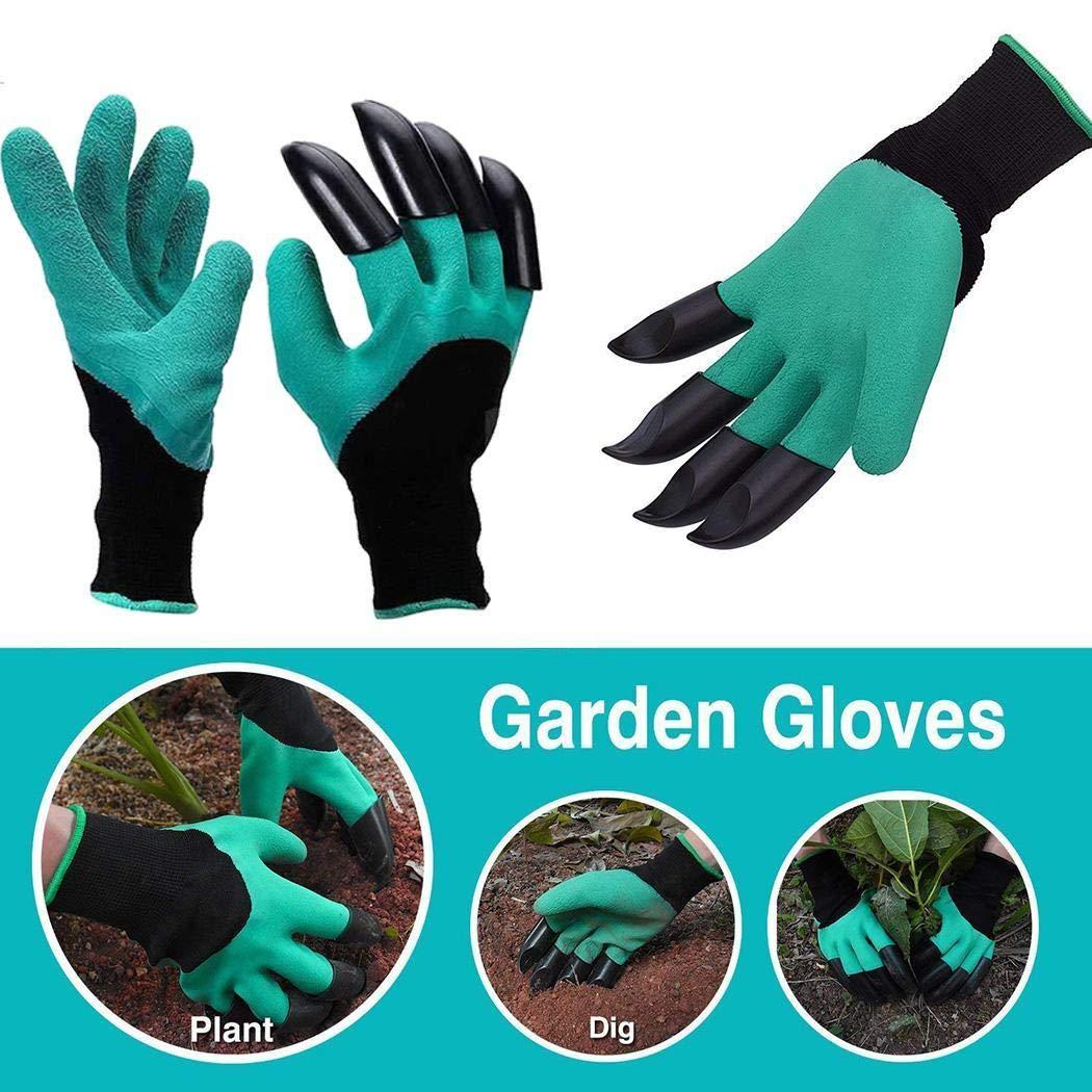80% off Gartenhandschuhe mit Fingerspitzen Claws Digging Pflanz Latex-Handschuhe