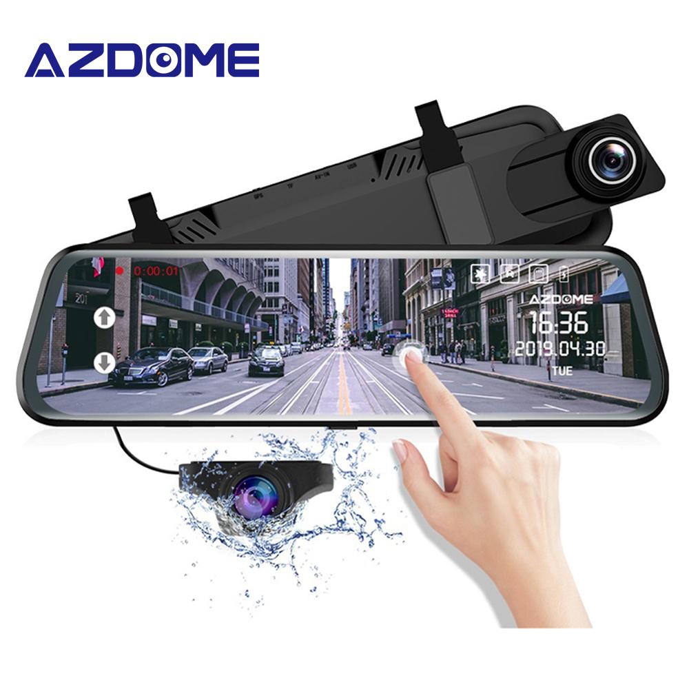 """AZDOME PG02 Touch Volle Bildschirm 10 """"Spiegel Dash Cam Streaming Media ADAS Dual Objektiv Nachtsicht 1080P DashCam auto DVR Unterstützung GPS"""