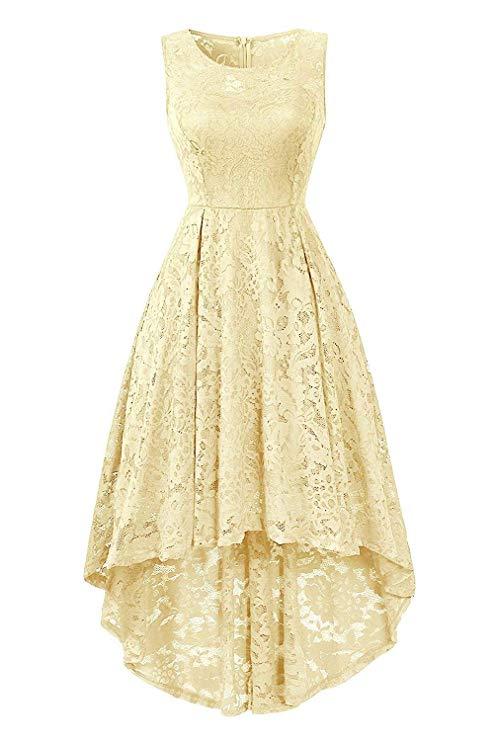 GREMMI Damen Spitzen Abendkleider Partykleid Schwingen Cocktailkleid Ärmellos Spitzenkleid Festlich Brautjungfern Floral Kleid