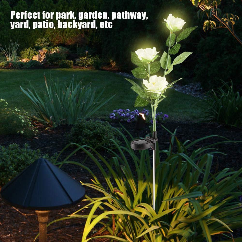 Riuty Solarleuchten im Freien, 2er Pack Solar Power LED-Kamelie-Blumenlicht