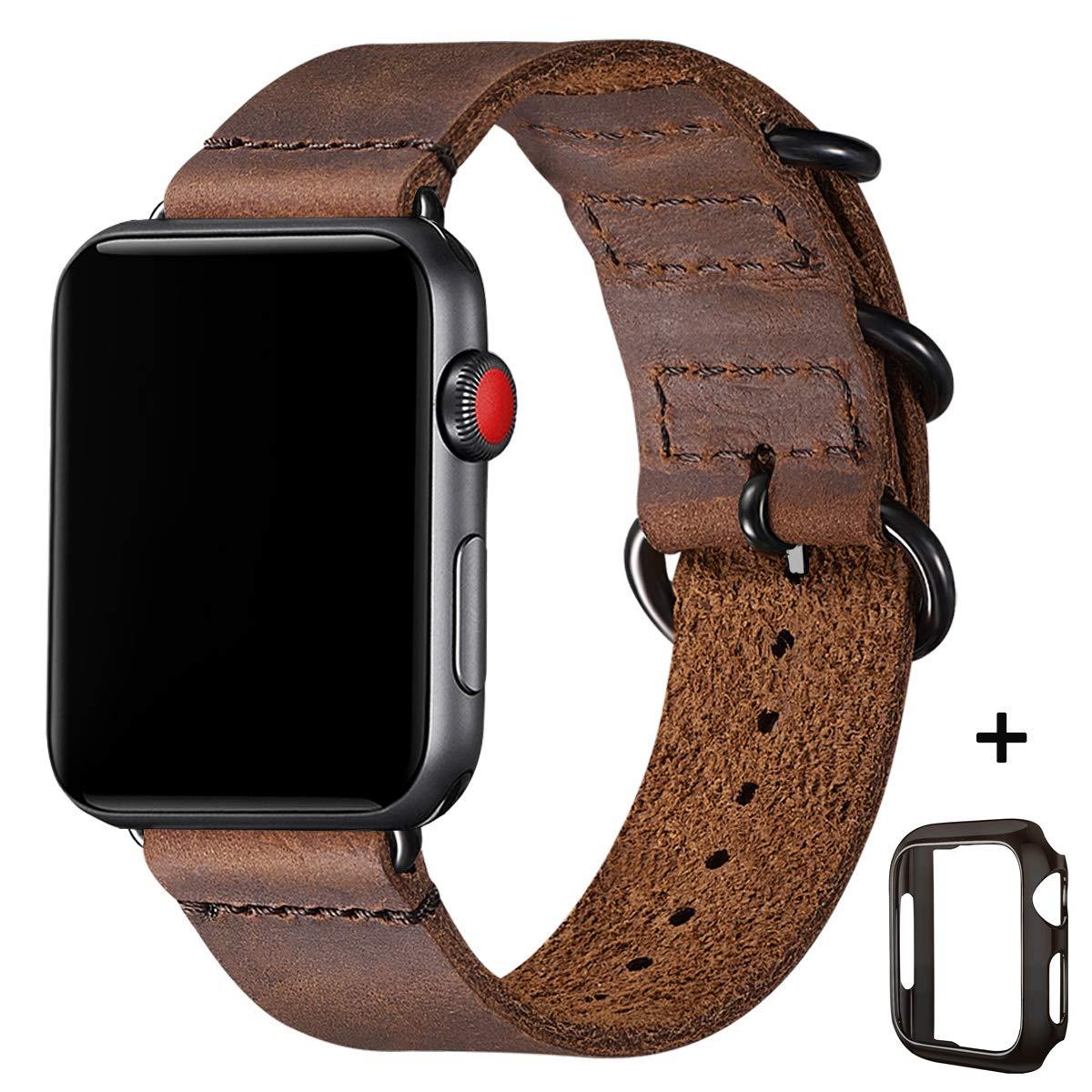 BesBand Retro Lederbänder Kompatibel mit Apple Watch Armband