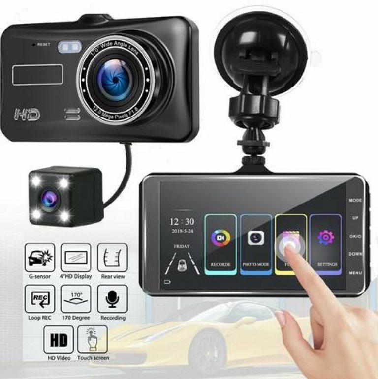 4 zoll HD 1080P Dual Objektiv Auto DVR Touchscreen Dashcam Kamera Video Recorder SD Cam Nachtsicht Drop verschiffen