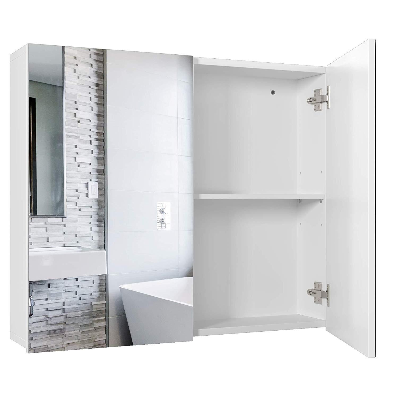 Homfa Spiegelschrank Badezimmerspiegel Badezimmerschrank Spiegel Badschrank verstellbaren Einlegeböden Holz weiß