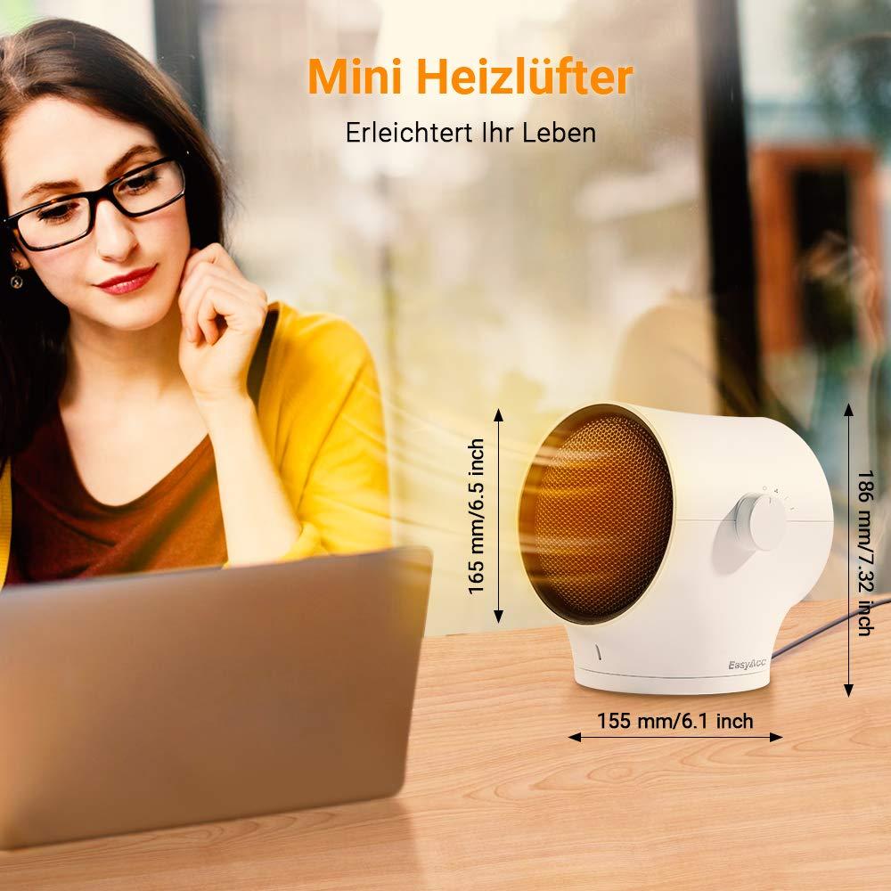 EasyAcc Mini Heizlüfter Keramik Heizlüfter 1000W mit LED 60° Oszillation