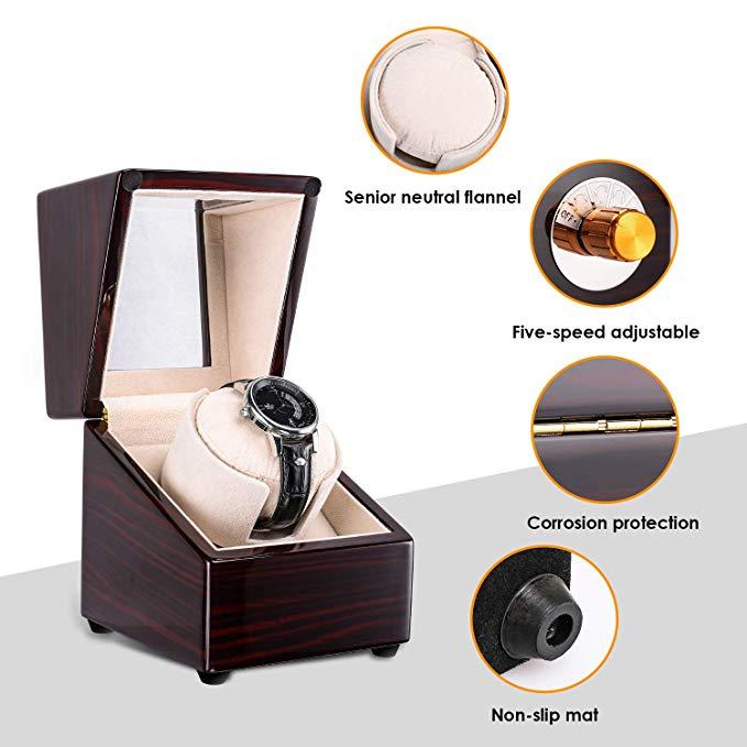 MFAVOUR Uhrenbeweger 1 Uhr Uhrendreher Uhrenbox mit verschiedenen Bewegungs-Modi