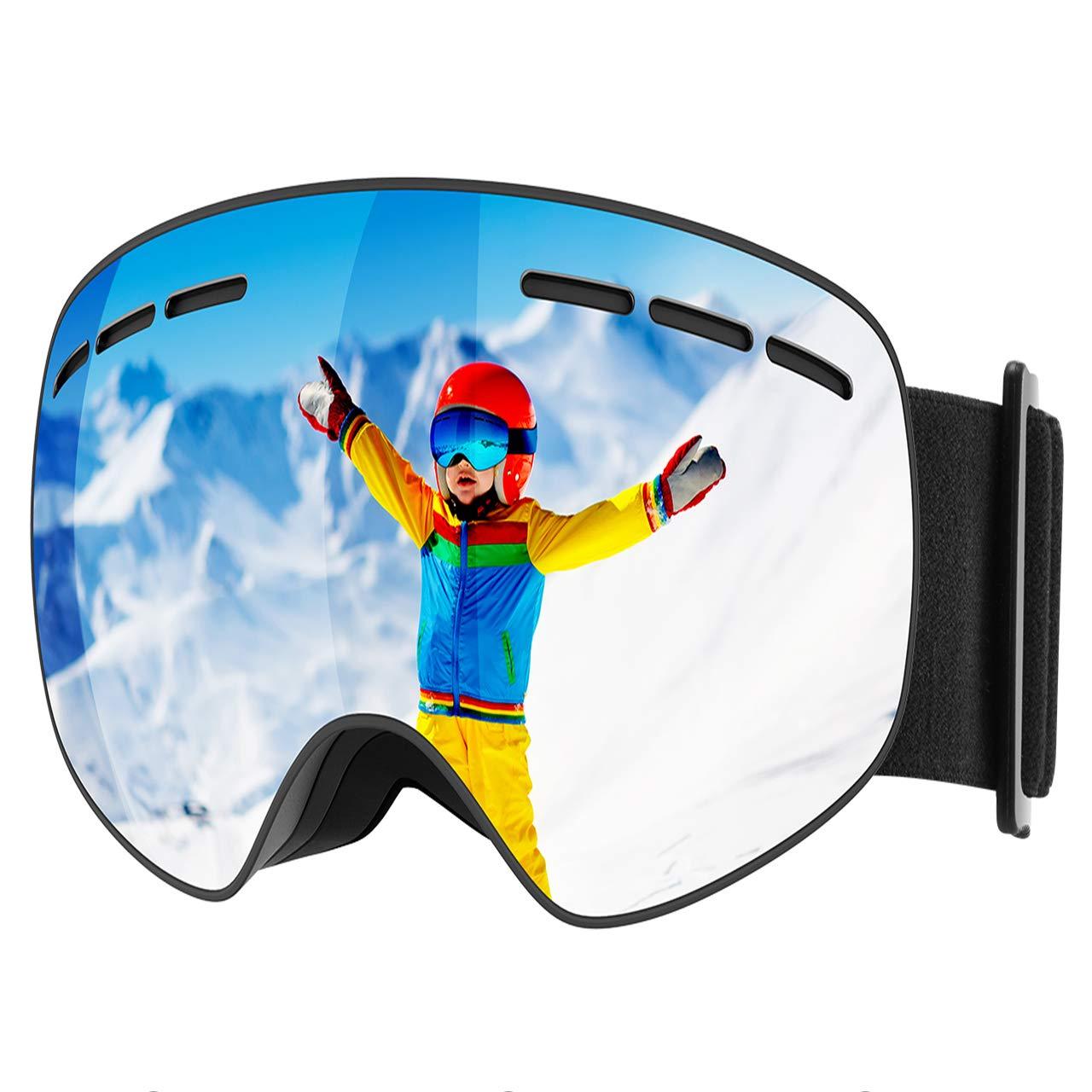 Mpow Skibrille Kinder, Snowboardbrille Kinder mit Anti-Fog-UV-Schutz sphärischer Doppelschichtlinse