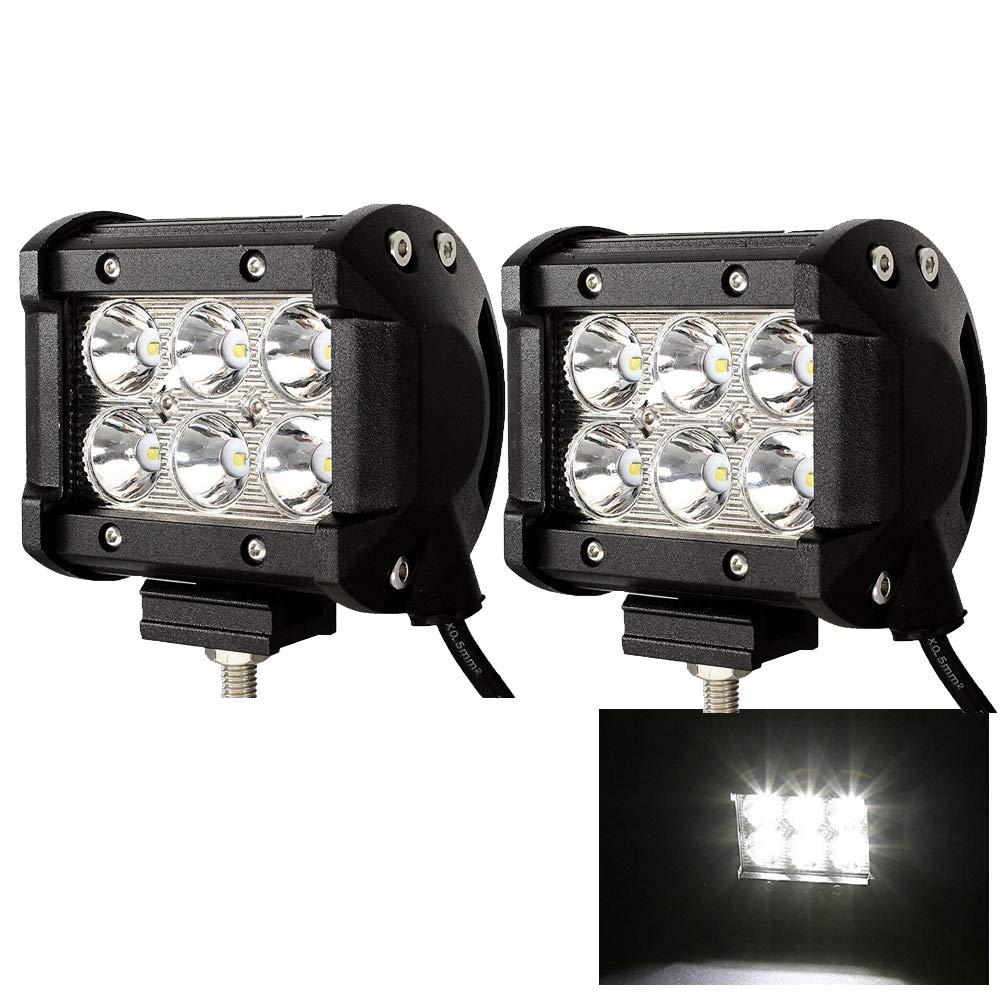 2 Stück LED Arbeitsscheinwerfer 18W Zusatzscheinwerfer 1800LM Scheinwerfer