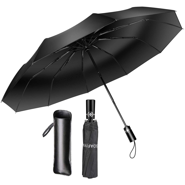 Soafiya Regenschirm Schirm Taschenschirm Windproof Sturmfest